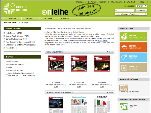 The Goethe Institut's onleihe eLibrary, offering free German resources