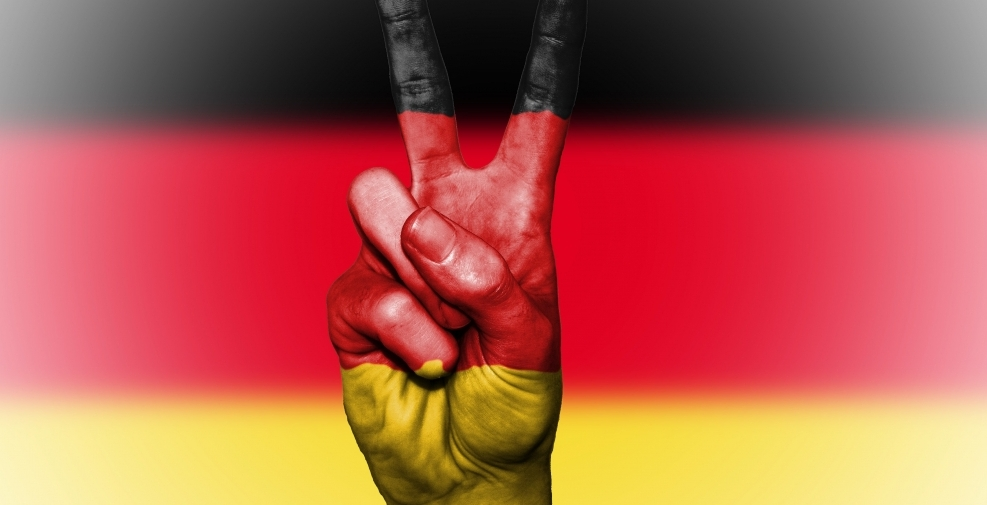 German flag with peace sign